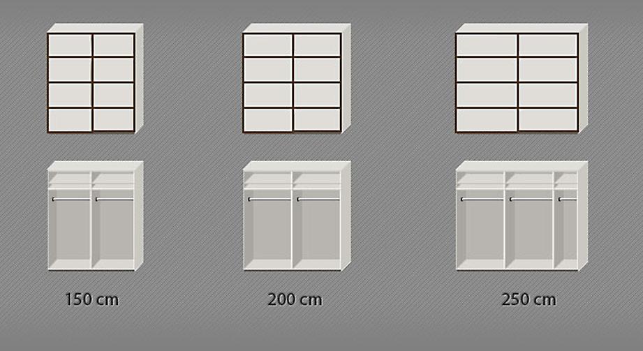 Inneneinteilung des Schwebetüren-Kleiderschranks von 150-250cm