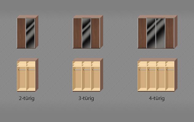 Kleiderschrank Colorado schwarze Glasflächen Position Varianten