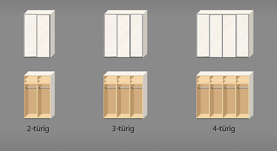 Kleiderschrank Laguna Skizze Türenanzahl Varianten
