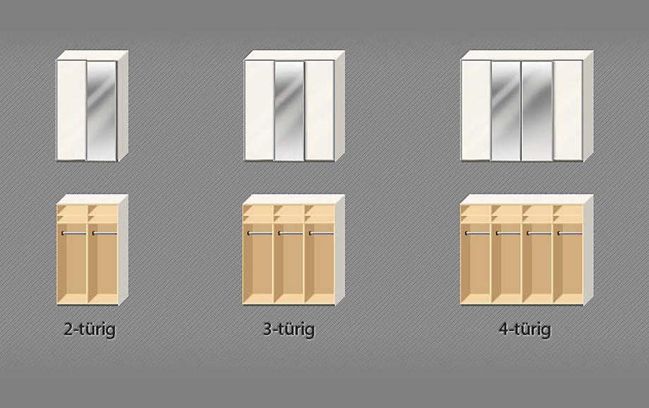 Verschiedene Schrank-Varianten mit Spiegel.