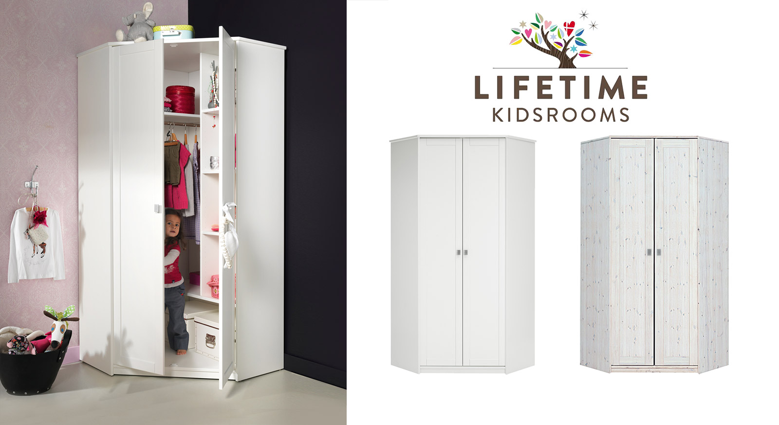 wei er eck kleiderschrank von lifetime f r kinder. Black Bedroom Furniture Sets. Home Design Ideas