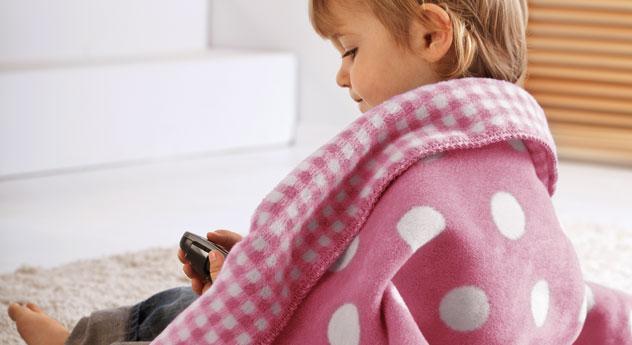 Niedliche Kinder-Kuscheldecke Marienkäfer in Rosa