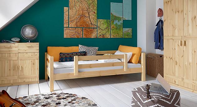 Massivholz-Kinderbett Kids Paradise Basic in Natur lackierter Variante 03