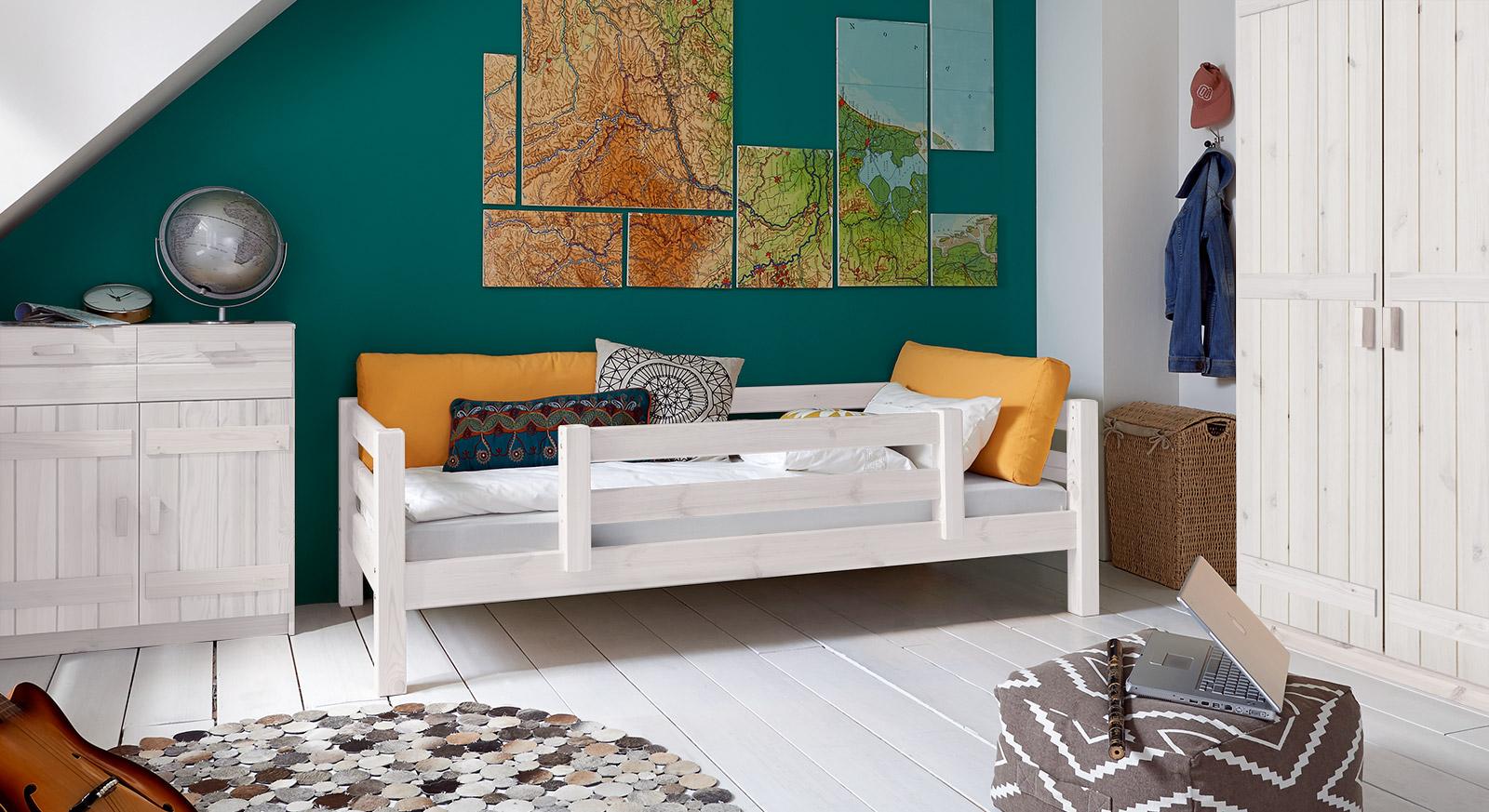 Massivholz-Kinderbett Kids Paradise Basic in Weiß lasierter Variante 03