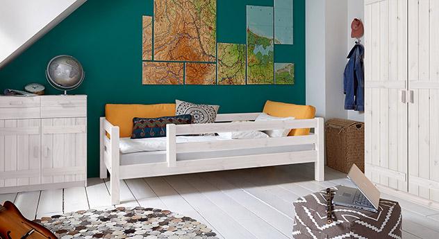 Kinderbett Kids Paradise Basic in Weiß lasierter Variante 04, Sicherung rechts