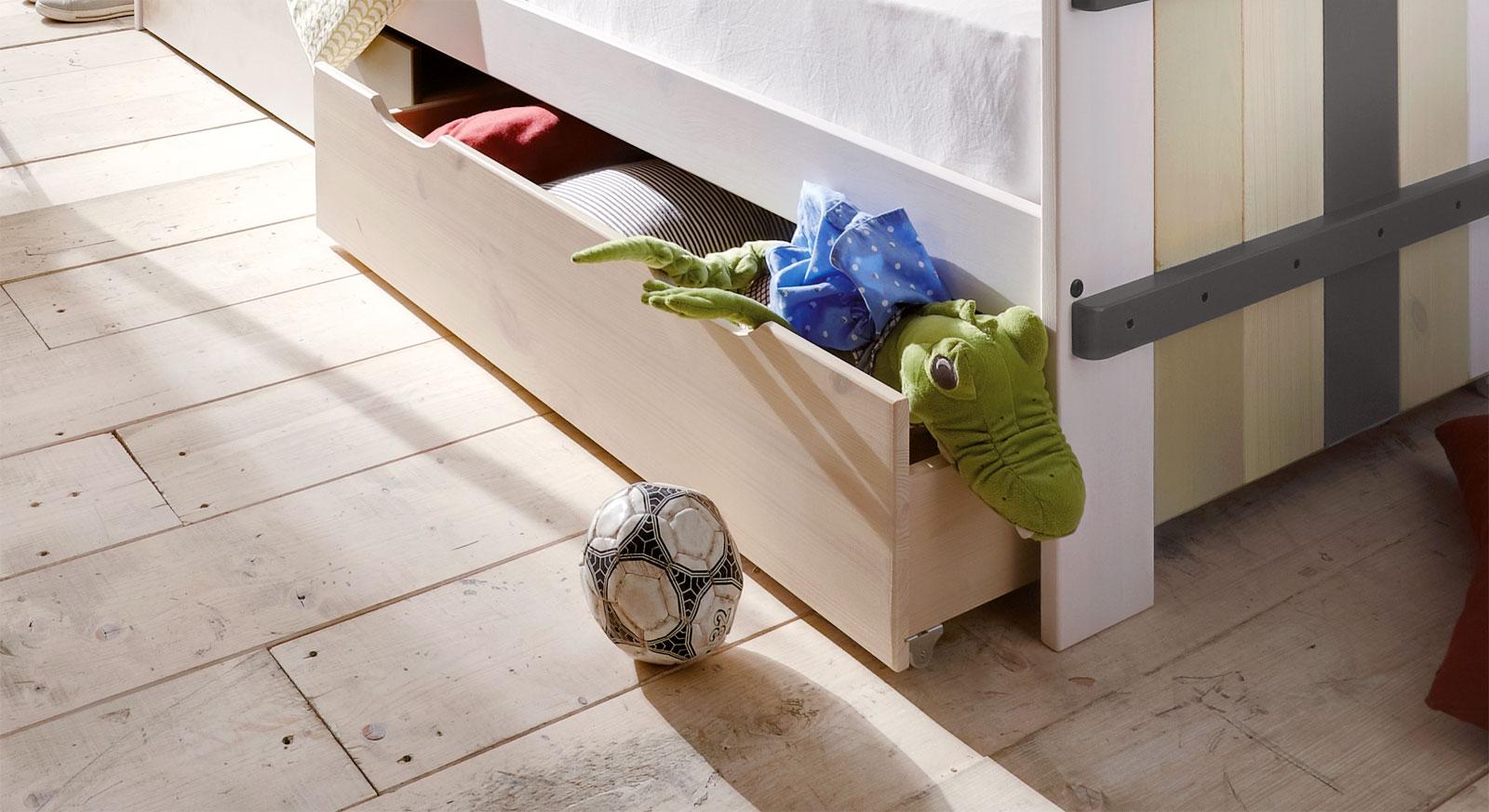 Kinderbett Kids Paradise Luabhütte schubkasten in coolem Design