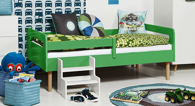 Kinderbett Kids Town Retro in grünem MDF