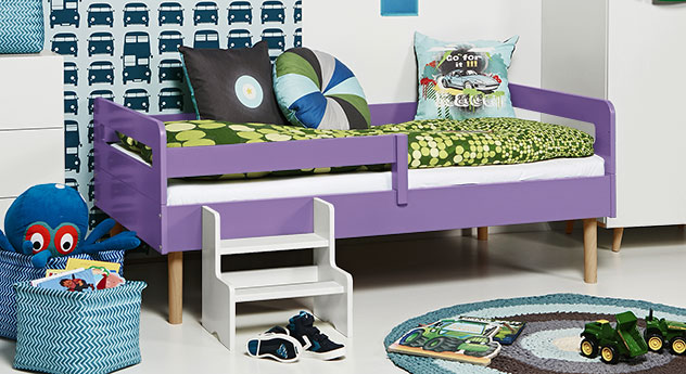 Kinderbett Kids Town Retro in violettem MDF