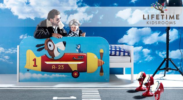 Lifetime-Kinderbett Flugzeug mit Motivfront