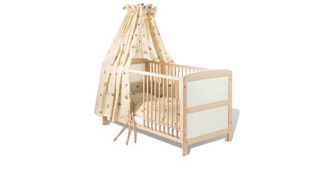 Kinderbett Henri günstiges Gitterbett mit höhenverstellbarem Lattenrost und drei Schlupfsprossen