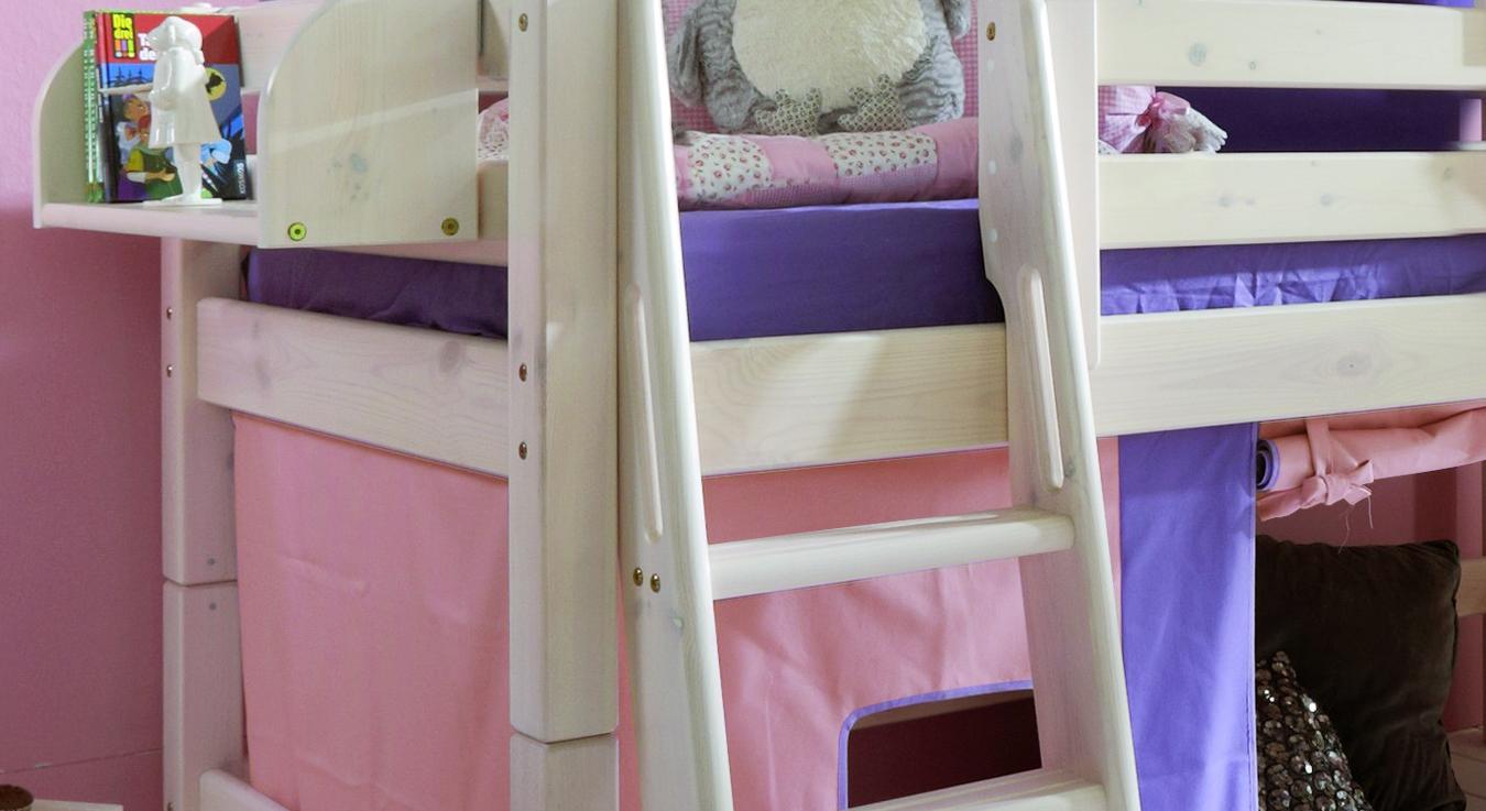 prinzessin hochbett kids paradise in wei inklusive vorhang. Black Bedroom Furniture Sets. Home Design Ideas
