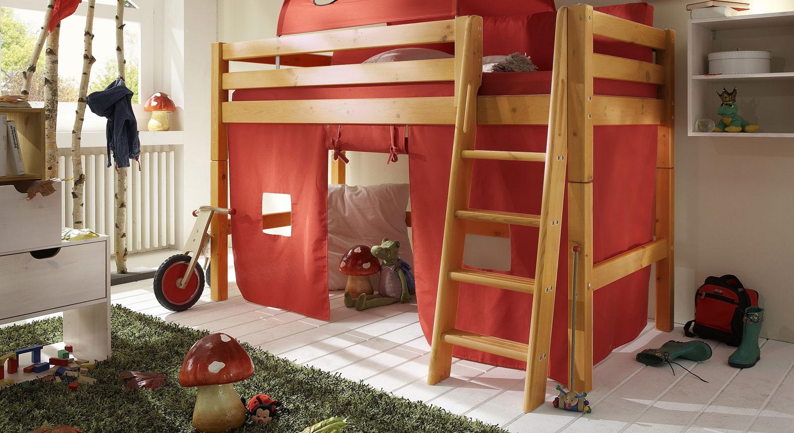 Midi-Hochbett Kids Paradise Kiefer Gelaugt