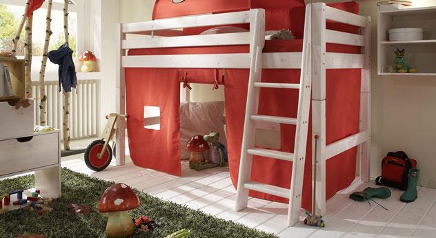Midi-Hochbett Kids Paradise Kiefer Weiß