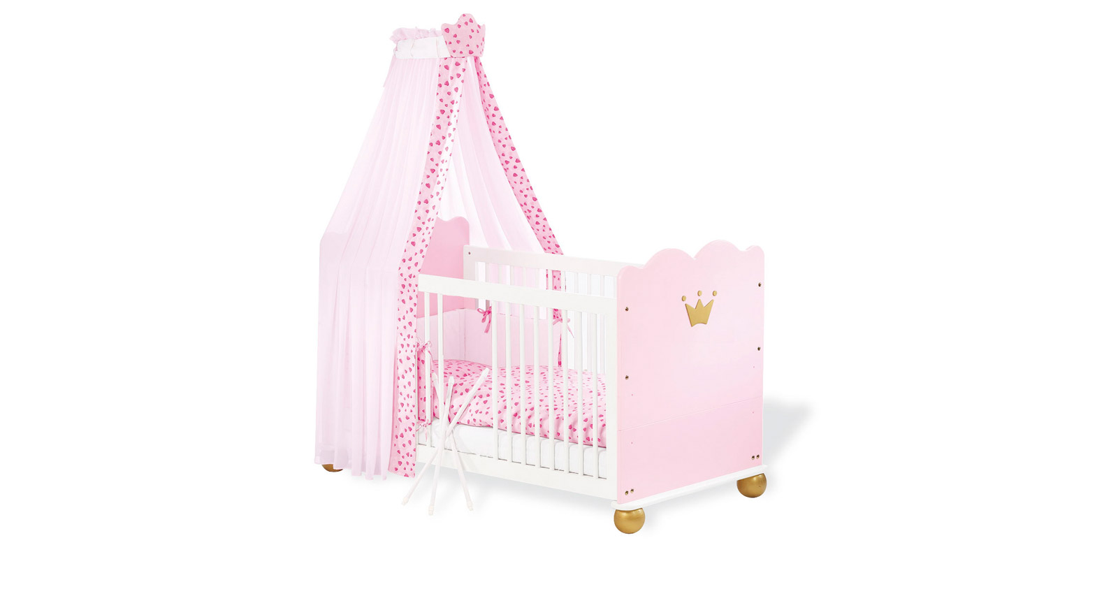 Kinderbett Pauline rosa wächst mit Gitterbett mit Himmel und Nestchen