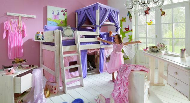 Prinzessinnen Hochbett Kids Paradise in Kiefer weiß lasiert