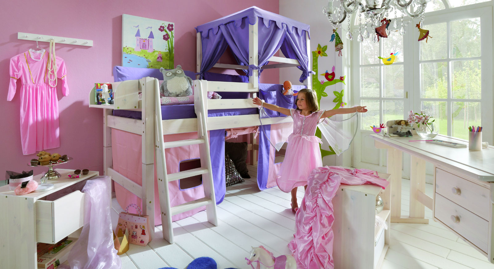 prinzessin hochbett kids paradise in wei inklusive vorhang. Black Bedroom Furniture Sets. Home Design Ideas
