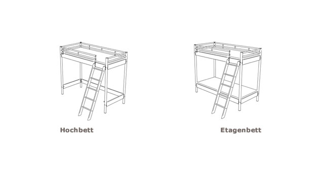 Kinderhochbett Finn Skizze Aufbau Hoch- und Etagenbett