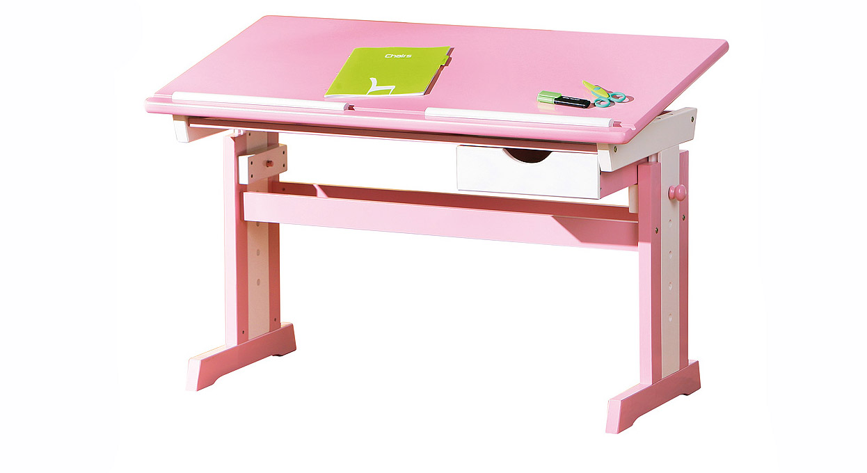 Hochwertiger kinderschreibtisch jana für mädchen rosa
