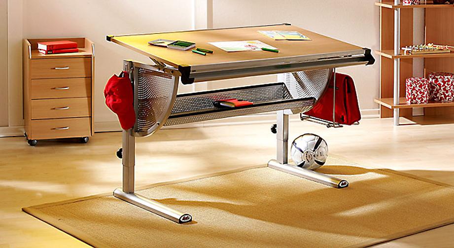Schreibtisch Nico Stauraum Untergestell Metall Grau