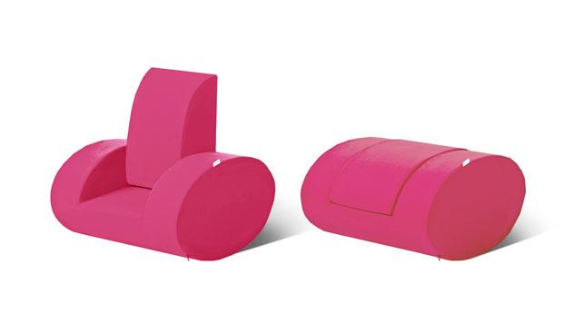 Pinker Kindersessel Kids Heaven zum Zusammenklappen