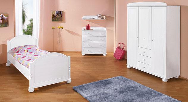 Jugendbett clara in massivholz mit stauraum wei lackiert for Kinderzimmer clara