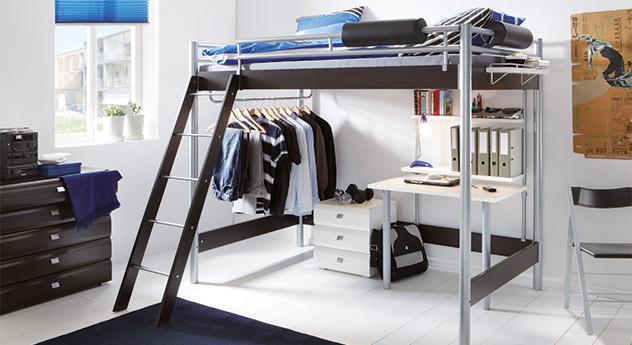schlafzimmer komplett mit metall hochbett und schreibtisch. Black Bedroom Furniture Sets. Home Design Ideas