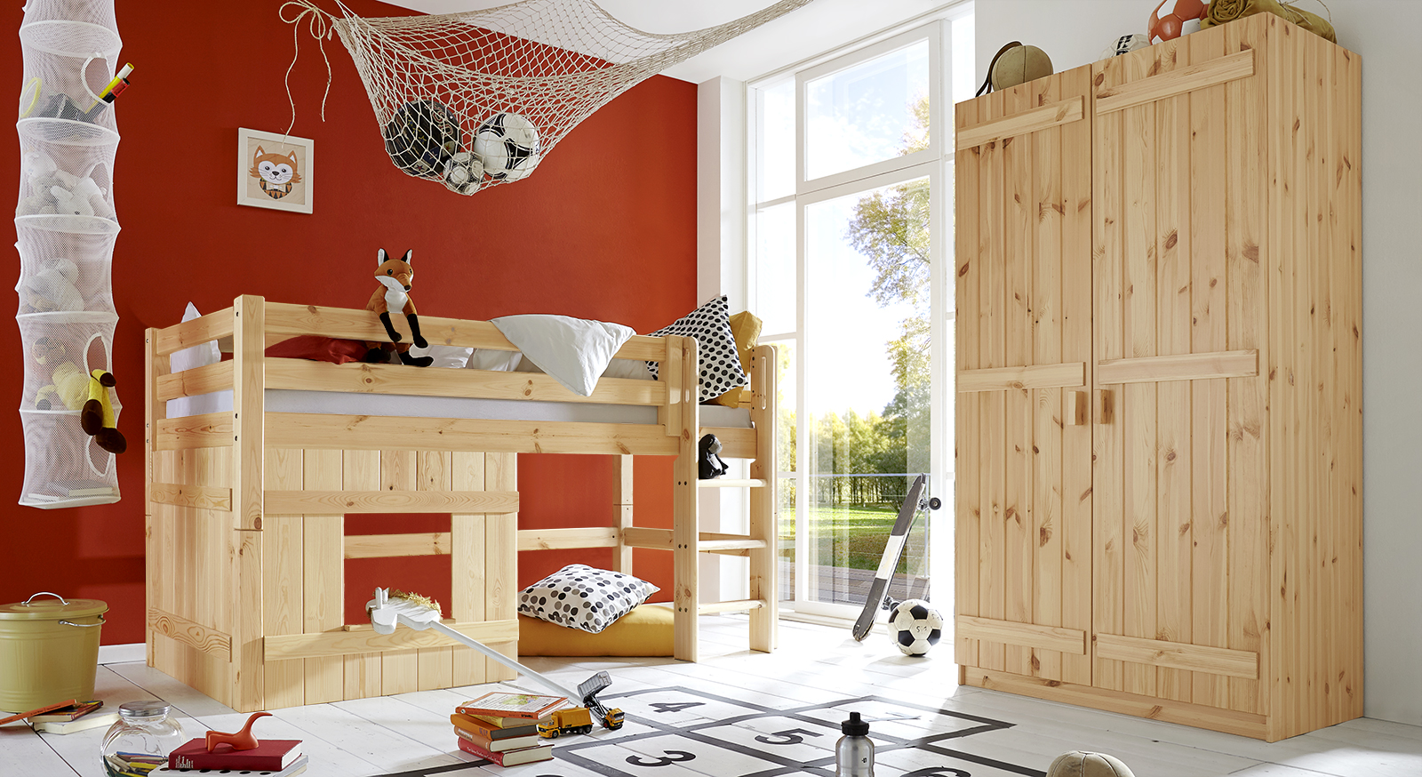 Komplett kinderzimmer aus kiefer massiv kids paradise for Kinderzimmer mit 2 betten