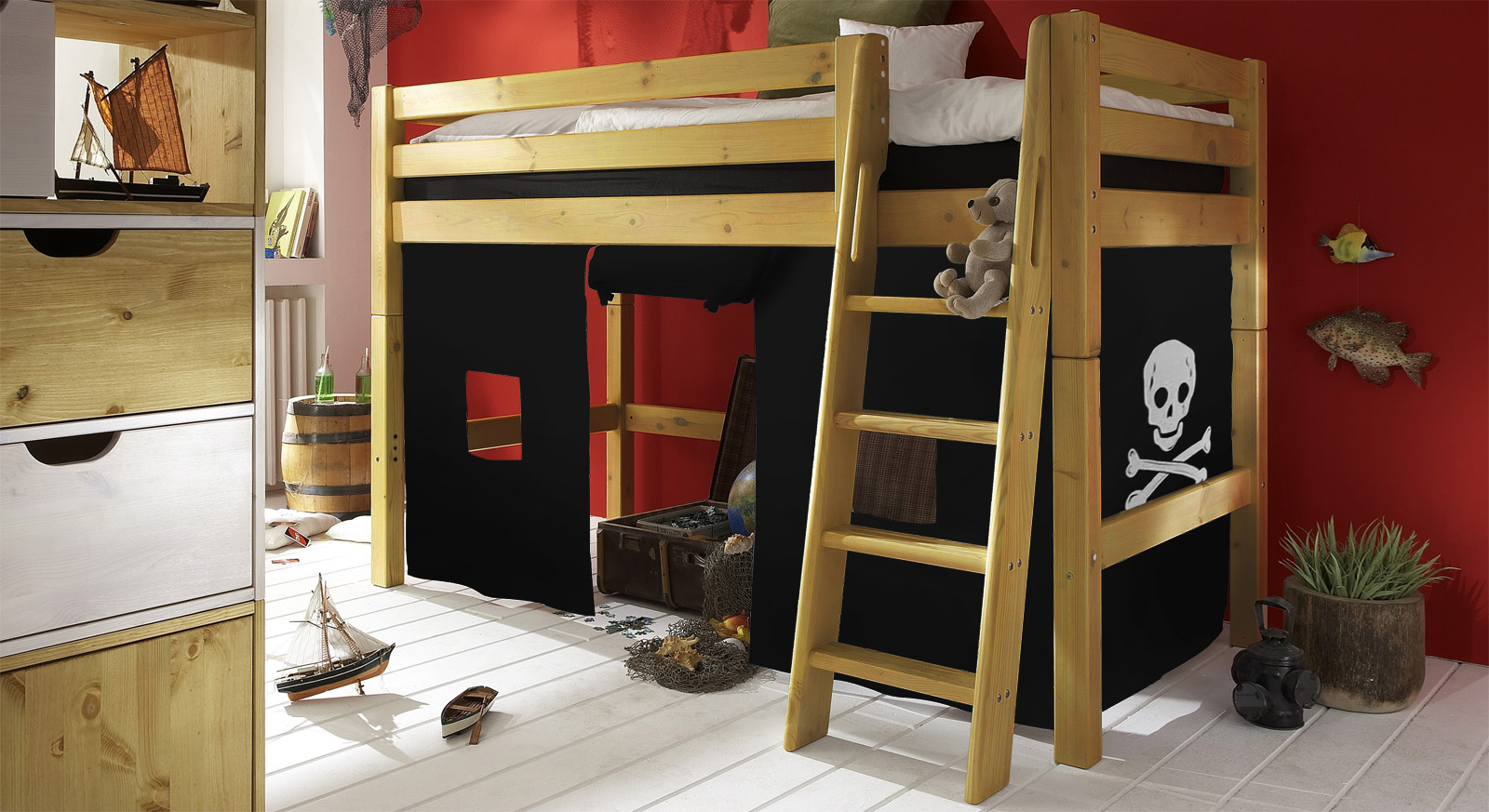 komplettes kinderzimmer pirat mit hochbett aus massivholz. Black Bedroom Furniture Sets. Home Design Ideas
