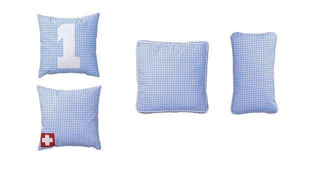 Hochwertiges Kissen kim blau weiß kariert für jungs