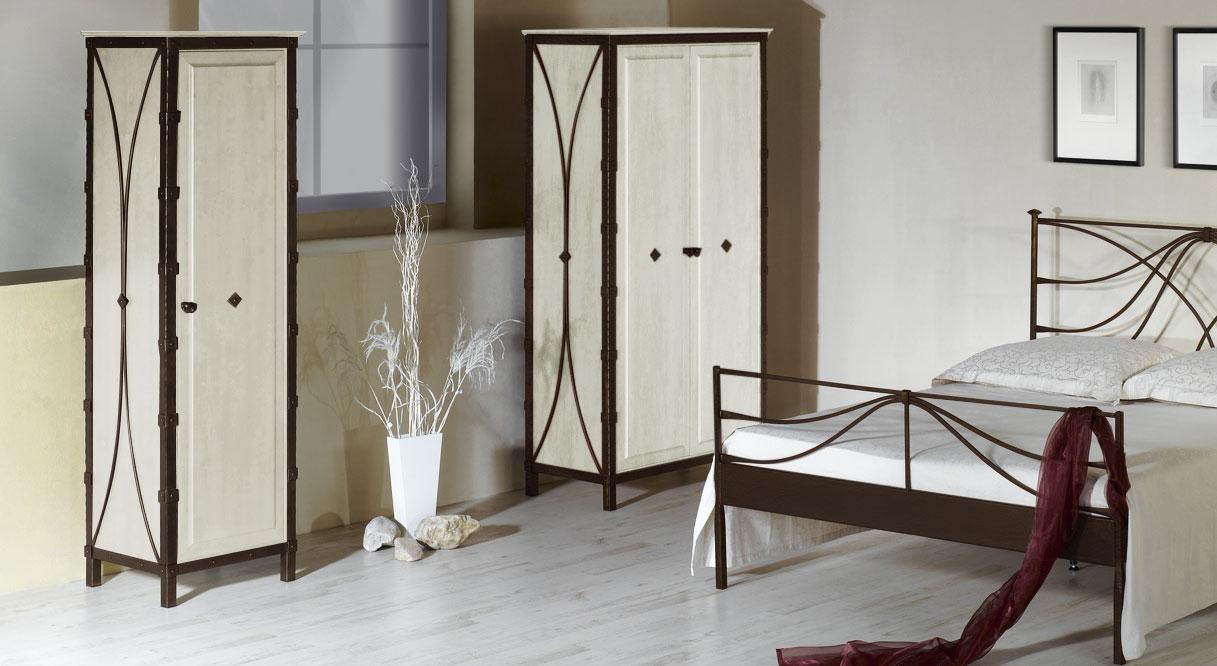 Kleiderschrank Arica in Braun mit Gold und weißer Eiche