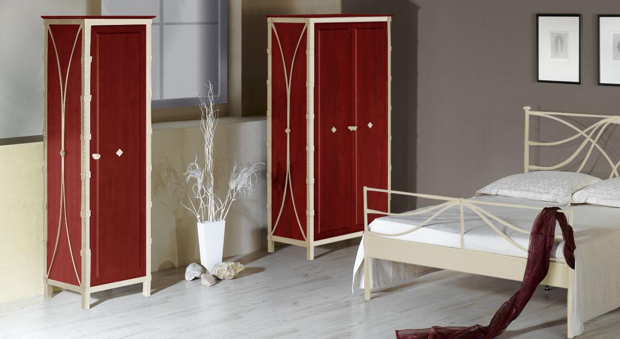 Kleiderschrank Arica in Creme mit Gold und roter Eiche