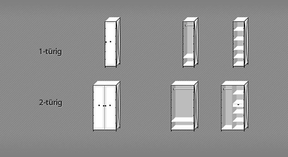 Grafik der Inneneinteilung des Kleiderschrankes Arica