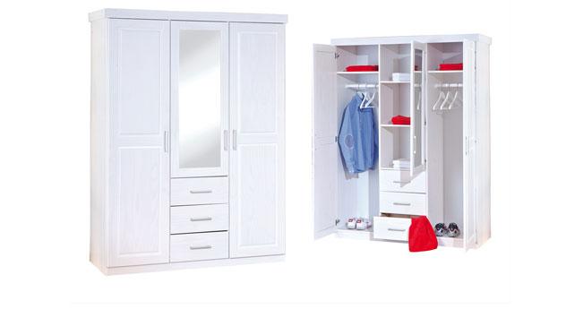 massivholz kleiderschrank in wei mit spiegel genf. Black Bedroom Furniture Sets. Home Design Ideas
