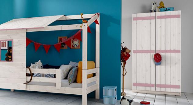 Zweitüriger Kleiderschrank Kids Paradise in Weiß und Flieder