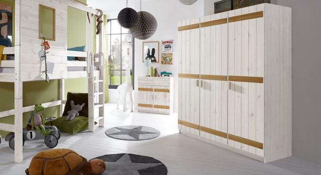 Dreitüriger Kleiderschrank Kids Paradise in weißer und gelaugter Kiefer