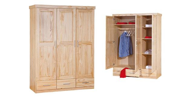 Kleiderschrank Ried aus Massivholz mit 3 Schubladen