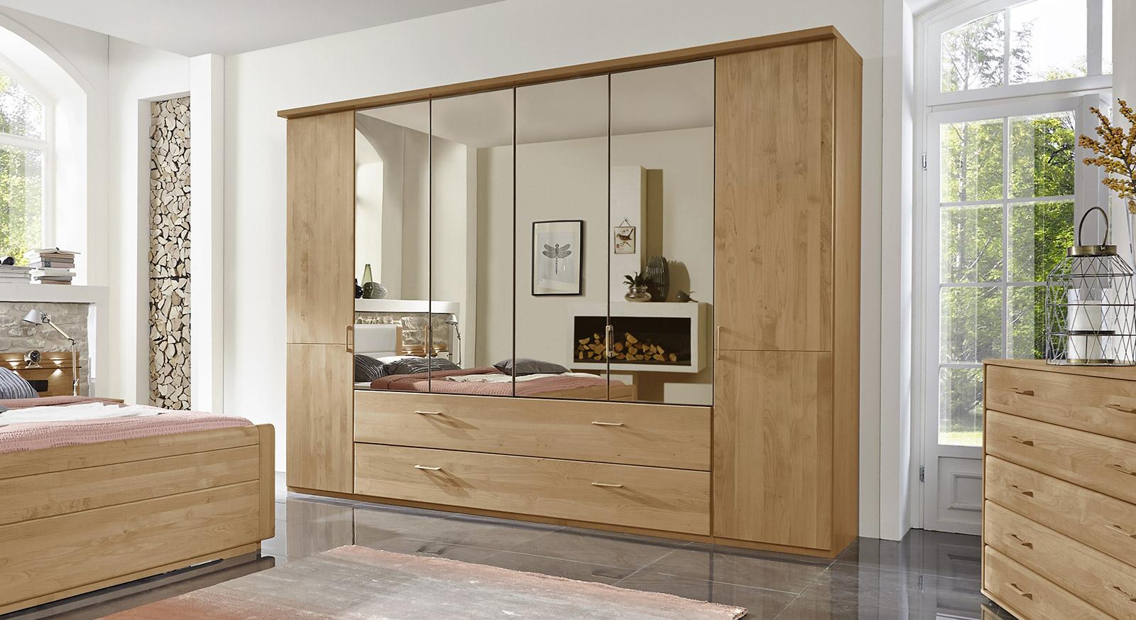 Kleiderschrank mit Schubladen, Spiegel und Falttüren - Narita