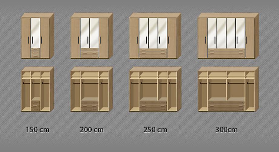 Inneneinteilungsgrafik für Kleiderschrank Narita in Komforthöhe