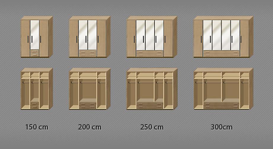 Grafik zur Inneneinteilung des Kleiderschranks Narita