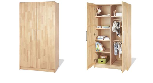 Kleiderschrank Natura aus Massivholz mit zwei Türen