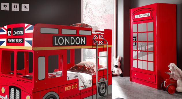Kleiderschrank Paddington aus rot lackiertem MDF