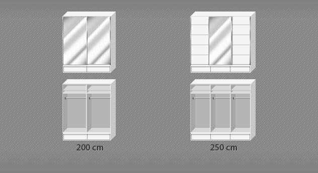 Grafik zur Inneneinteilung vom Kleiderschrank Salford in den Breiten 200 und 250 cm
