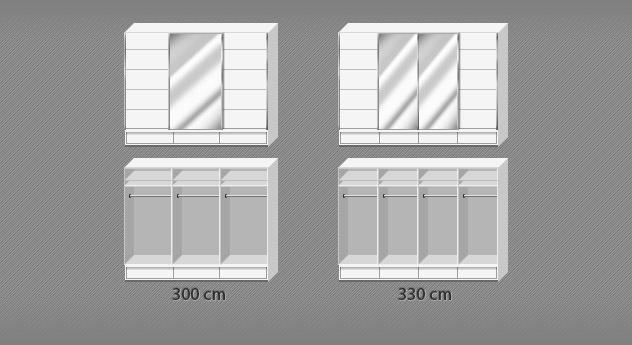 Grafik zur Inneneinteilung vom Kleiderschrank Salford in den Breiten 300 und 330 cm