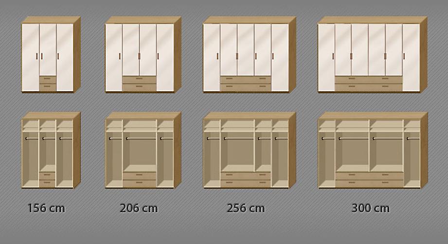 Grafik zur Inneneinteilung für den Kleiderschrank Toride in 219 cm Höhe
