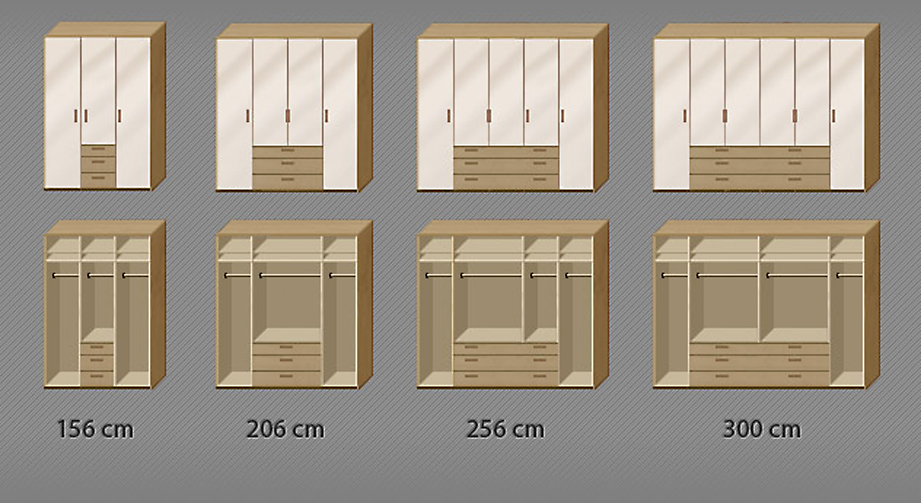 Grafik zur Inneneinteilung für den Kleiderschrank Toride in 239 cm Höhe