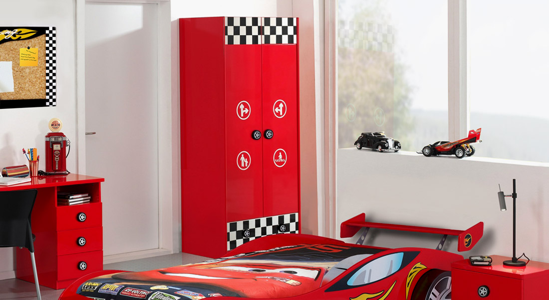 2 t riger kinderkleiderschrank in rot mit schublade tuning. Black Bedroom Furniture Sets. Home Design Ideas