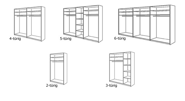 Drehtüren-Kleiderschrank Orlando schwarze Hochglanz-Oberfläche fünf Varianten