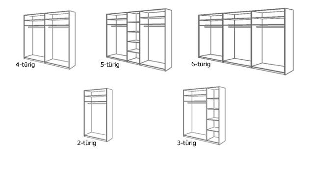 Drehtüren-Kleiderschrank Orlando 5 Varianten Skizze Aufbau