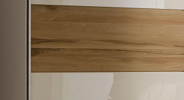 Kleiderschrank Almada Kombination aus Metall Eiche glänzendem Weiß