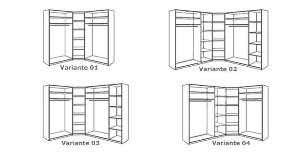 Eck-Kleiderschrank Orlando vier Varianten